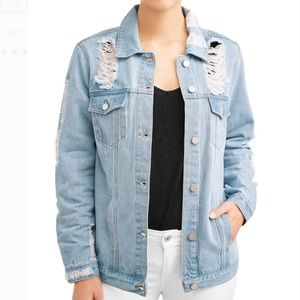 Light wash jean jacket with rips